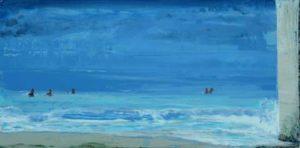 L'instant précis où Paul et Jean me disent: Arrête un peu ta peinture et viens nous rejoindre avant que l'averse arrive 60 cm x 30 cm 2014