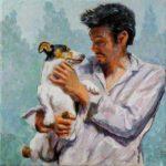 Les yeux dans les yeux; Brice et son chien Jack 20 cm x 20 cm 2014
