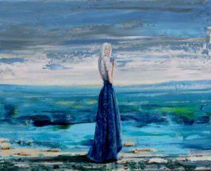 L'instant précis où Isaline me dit: J'ai l'impression que vous êtes plus passionné pour peindre vos petits lointains bleus que mon bouquet de violettes 41 cm x 33 cm 2014