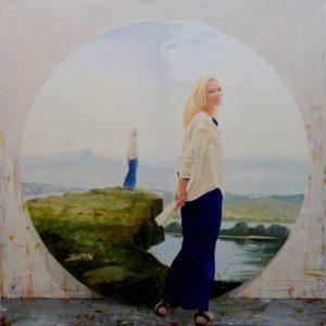 L'instant précis où Daniela posait pour les dernières retouches du tondo : «La terre est ronde» 120cm x 120cm 2014