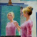 L'instant précis où je surpris Joy peignant son autoportrait  80cm x 80cm 2014