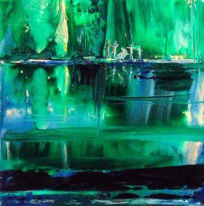 Faune surprenant des Nymphes prés du petit lac vert 20cm x 20cm 2014