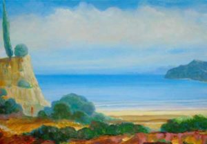L'instant précis où Eve m'interpella:  «Chéri ce paysage est enchanteur, je pense que tu seras heureux ici pour le peindre.» 55cm x 38cm 2015