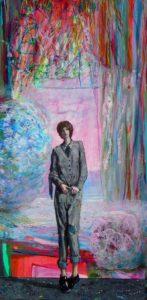L'instant où Éléonore dans son atelier me dit:  «Au fond nos peintures ont des connivences certaines !» 60cm x 30cm 2015