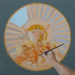 Lorsque nous levons notre pinceau vers le ciel, donne-t-on naissance obligatoirement (ou par miracle), à une image divine ? 50cm x 50cm 2015