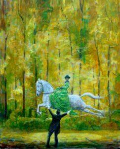Perdu en forêt, j'ai toujours l'espoir de trouver une clairière éclairée par mes rêves d'enfant 100cm x 81cm 2015