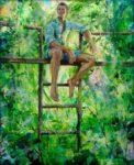Marco avait donné rendez-vous à Béatrice qu'il n'avait pas revue depuis trente ans, là où il l'avait embrassée la première fois, au fond du jardin chez son père. Une grande joie l'envahissait mêlée d'une certaine inquiétude. 61cm x 50cm 2015
