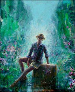 L'instant où Pierre le jardinier de Garance me dit : C'est un peu comme dans vos peintures, dans mon jardin la règle me déplaît pourtant il n'a rien d'innocent ! 61cm x 50cm 2015