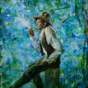 L'instant où Marcus le jardinier d'Amandine pensait au message qu'il lui avait laissé : «Votre joue toute douce, dans votre jardin, je cherche l'odeur de votre joue .» 60cm x 60cm 2015