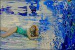 L'instant où je dis à Héloïse : Ma chérie tes jambes sont interminables, elles ne vont pas tenir dans le tableau ! 35cm x 22cm 2015