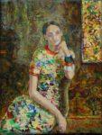 Clémence dans son atelier 18cm x 14cm  2015