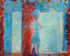 Marion dans son atelier avant la fête aux Beaux-arts 81cm x 65cm 2015