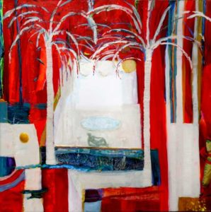 Te souviens-tu lorsque nous enlevions nos bandeaux ? le rouge de la vie. le jardin de lana . 100cm x 100cm 2016