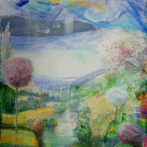 Les paysages sans sommeil : Frantz regardant Marthe et Marie se baignant 100cm x 100cm 2016