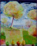 Les paysages sans sommeil : Eve et Lilas dans le verger, la leçon de botanique 81cm x 65cm 2016