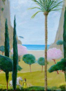 Les paysages sans sommeil :« La visite de Tawana à l'atelier » 100cm x 73cm 2016