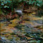 L'instant où dans le bois d'amour, Eve s'approchant de mon chevalet et voyant mon sourire en coin, me dit: je n'ai pas l'impression que Gauguin t'influence beaucoup 30cm x 30cm 2016