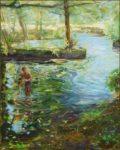 L'instant où le jeune Paul se baignant me dit: Vous l'avez connu vous Gauguin? Huile sur toile 41cm x 33cm 2016
