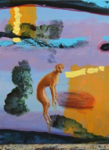 L'instant où Diane dit à Castor: Mais cesse de sauter ainsi dans l'atelier de François, ses toiles ne sont sans doute pas sèches! 81cm x 60cm  2016