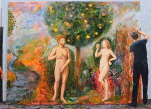 Abel travaillant à son tableau: «la tentation d'Adam» 100cm x 73cm 2016