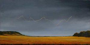 L'instant où Orlane me dit: Avez-vous vu ce fil d'or dans le ciel? Et nous sommes en Côte-d'Or! Croyez-vous aux apparitions? 60cm x 30cm 2016