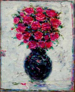 Petits bouquet d'amour résistant à l'hiver huile sur toile 27cm x 22cm 2016