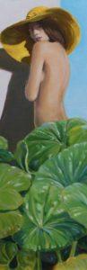 Laure surprise par le regard candide de son jardinier. 60 cm x 20 cm 2017