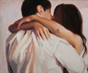 To fall in love. (Elle caressait langoureusement les plis de sa chemise) 65xm x 54cm 2017
