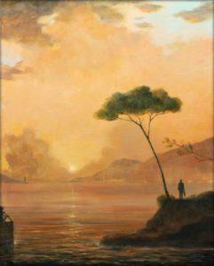 C'est sous un crépuscule digne des toiles de Maîtres qu'Adélaïde avait vues dans les musées avec son père, qu'elle regardait son départ. Il ne faut pas lier un bateau à une seule ancre, ni une vie à un seul espoir. 81cm x 65cm 2017