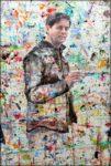Autoportrait à la table de travail (acrylique et huile sur panneau mélaminé blanc) 120cm x 80cm 2017