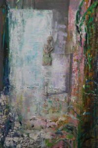 Adrienne, à te peindre c'est presque autre chose, des anges calmes passent à travers nous. 130cm x 97cm 2017