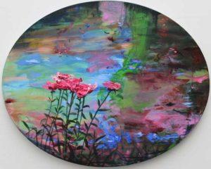 Si ton cœur triste se fane de gris, viens me rejoindre! Ici les fleurs sont à manger,comme ma bouche qui les copie. 40cm x 50cm 2017