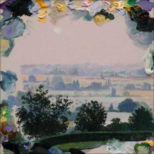 C'était un 7 septembre 2012, il était parti dans un beau matin rose de fin d'été, le paysage cachait dans la délicate rosée ses larmes mêlées aux miennes.  30 cm x 30 cm 2017