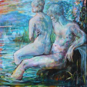 Adonis caressant Aphrodite fût troublé par des reflets semblables à une écharpe de soie, il crût un instant par ce soir d'été que le soleil revenait sur ses pas. 100 cm x 100 cm 2017