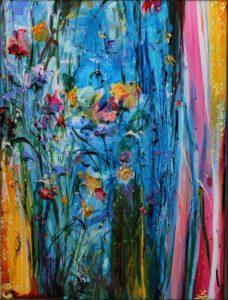 Il y avait des fleurs pleines de noces dans l'écume chaste de la source et toi Marie, et tes yeux miraculeux qui embrassaient l'azur. 60cm x 80cm 2017