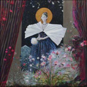 Dans la nuit bleue percée d'or, le soir vient à bout de ton pur contour, une foule de fleurs bourdonne encore, décousue par mes mains habiles voyageuses. 80cm x 80cm 2017