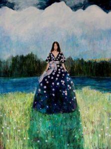 Ta robe avait embrassé le jardin, et les fleurs comme des baisers déposés étaient le refuge de nombreux cœurs.  130cm x 97cm 2017