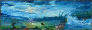 Cavalier chevauchant au clair de lune 60 cm x 20 cm 2013