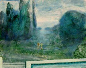 Anne-Lise s'essayant à la peinture de paysage, vers 9h 15 41 cm x 33 cm 2013