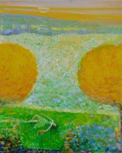 Adèle et Mystou prés du chemin blanc vers 20h 40 cm x 30 cm 2013