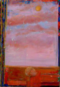 Les plumes d'Icare passant devant la fenêtre de Lucile vers 17h10 116 cm x 89 cm 2013