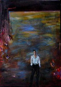 Walter posant devant sa dernière toile vers 22h35 50 cm x 35 cm 2013