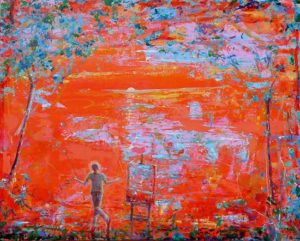 Le désespoir de Simon n'ayant plus d'orange de cadmium pour peindre son soleil 81 cm x 65 cm 2013