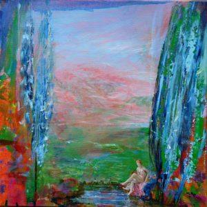 Irène imitant la Diane de François B. un soir dans son jardin vers 19h10 40 cm x 40 cm 2013