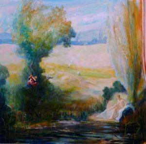 Mon rêve une nuit vers 3h 10 Saint Anne et Joachim  surprenant Diane au bain 134 cm x 137 cm 2013