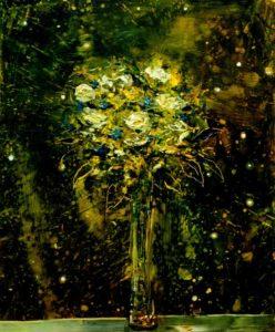 La nuit où vers 2h40, lorsque je te parlais de la lumière de Rembrandt ton bouquet s'est mis à jouer avec les étoiles 46 cm x 38 cm 2013