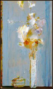 Chère Natsuko, malgré ton absence et la pluie qui tombe j'ai pu admirer ton bouquet à travers la fenêtre, il est très beau, il te ressemble 46 cm x 38 cm 2014