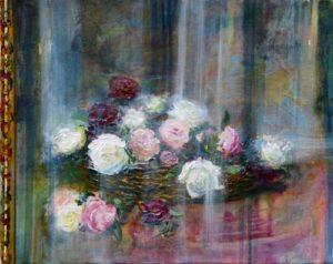 Chez Madeleine, les reflets de son bouquet dans sa glace 41 cm x 33 cm 2014