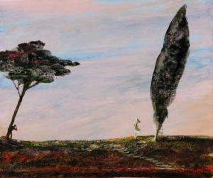 L'instant précis où Anne me dit en se retournant: Mais François  pourquoi as-tu effacé l'horizon 61 cm x 50 cm 2014