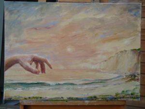 L'instant précis où dans le musée  Lucille dit à Michel: Mon ange Ne t'approche pas trop prés du tableau tu vas faire sonner l'alarme 73 cm x 54 cm 2014